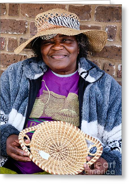 Basket Maker Greeting Cards - Sweetgrass Basket Weaver at the Charleston City Market Greeting Card by Dawna  Moore Photography