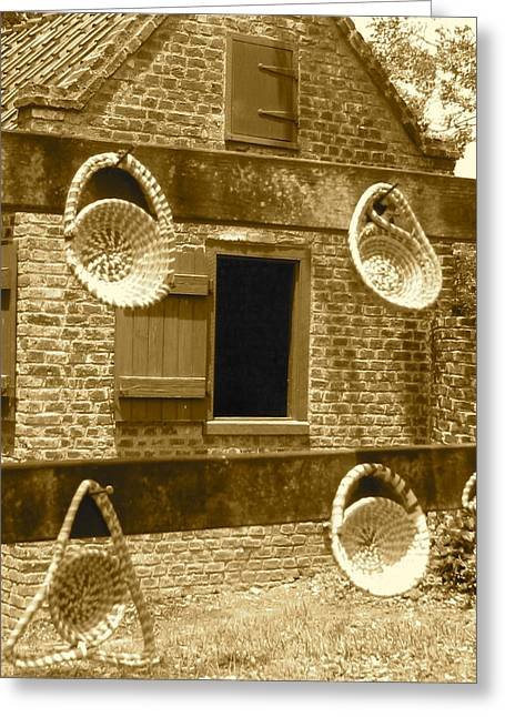 African American History Greeting Cards - Sweetgrass Baskets and Slave Shack Greeting Card by Staci-Jill Burnley