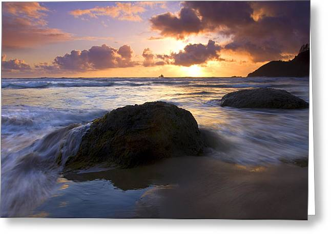 Sunset Seascape Greeting Cards - Swept Away Greeting Card by Mike  Dawson
