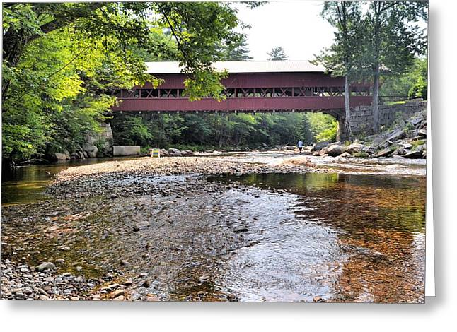 New England Village Greeting Cards - Swift River and Covered Bridge Greeting Card by James Potts