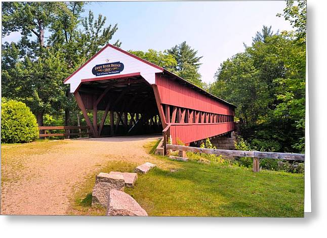 New England Village Greeting Cards - Swift River Covered Bridge Greeting Card by James Potts