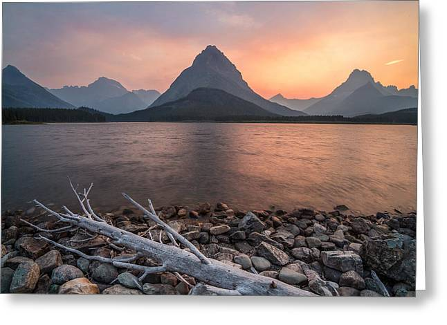 Sunset // Swift Current Lake, Glacier National Park  Greeting Card by Nicholas Parker
