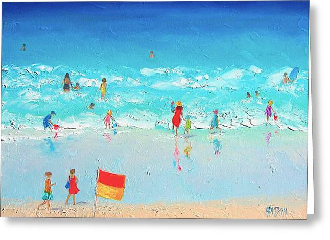 Bathroom Prints Paintings Greeting Cards - Swim Day Greeting Card by Jan Matson