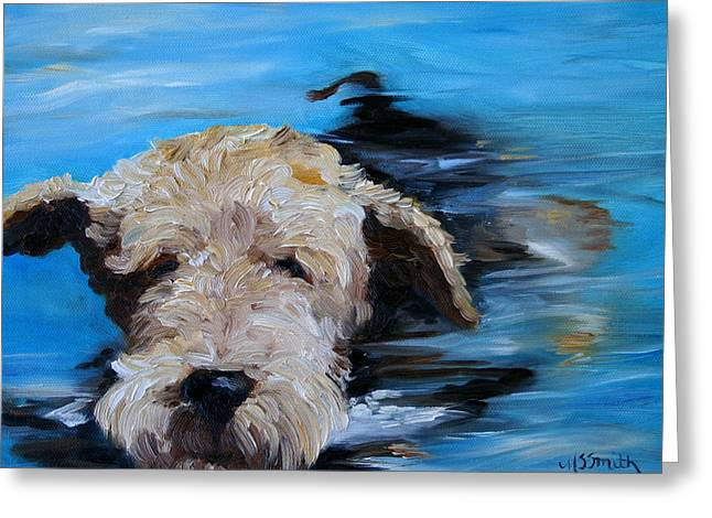 Dog Beach Card Greeting Cards - Swim Greeting Card by Mary Sparrow