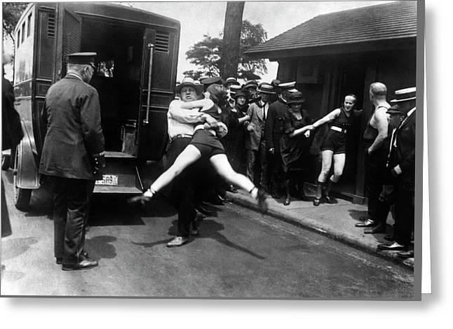 Swim Suit Paddy Wagon Arrest C. 1922 Greeting Card by Daniel Hagerman