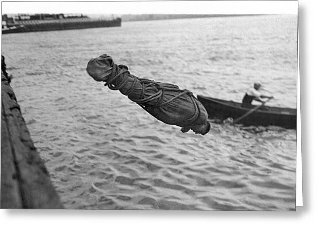 Swimmer And Escape Artist Greeting Card by Underwood Archives