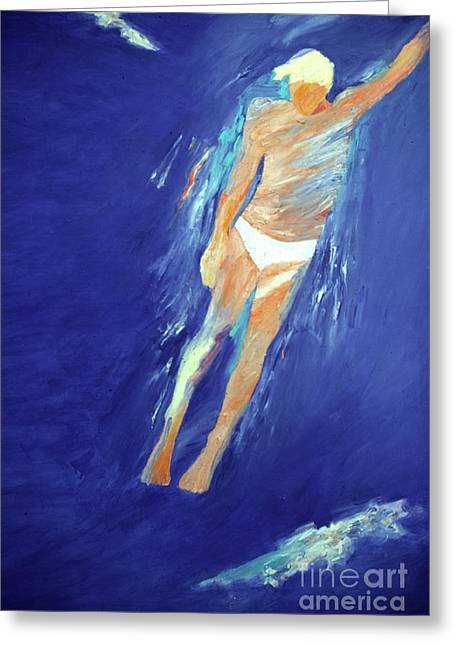 Free Form Paintings Greeting Cards - Swimmer Ascending Greeting Card by Lisa Baack