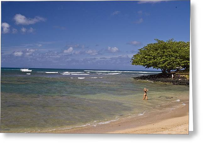 Swimmers Photographs Greeting Cards - Swimmer in paradise Greeting Card by Robert Ponzoni