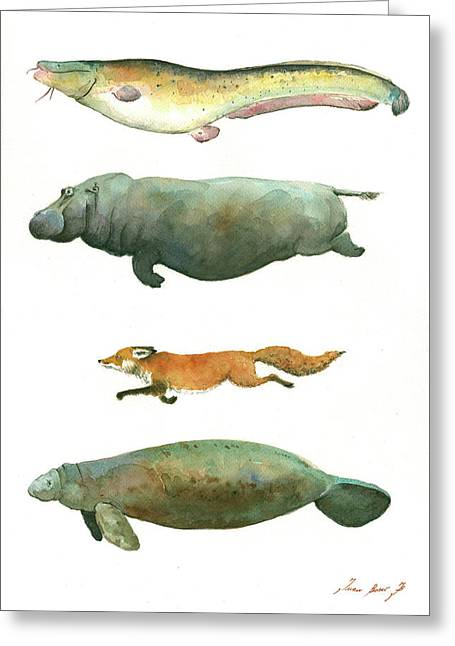 Swimming Animals Greeting Card by Juan Bosco