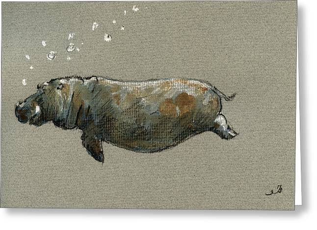 Swimming Hippo Greeting Card by Juan  Bosco