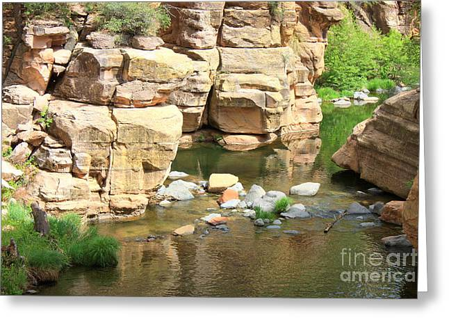 Slide Rock Greeting Cards - Swimming Hole at Slide Rock Greeting Card by Carol Groenen