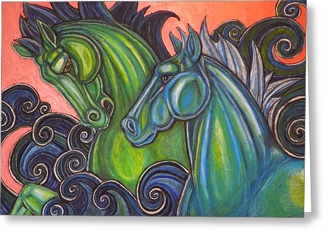 Sea Horse Pastels Greeting Cards - Swimming Horses  Greeting Card by Lynnette Shelley