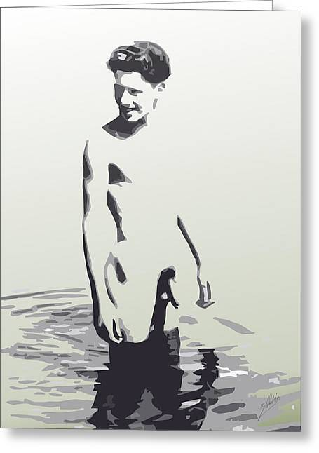 Modern Digital Art Digital Art Drawings Greeting Cards - Swimming in the river By Quim Abella Greeting Card by Joaquin Abella