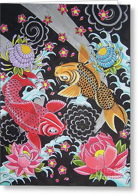 Tattoo Flash Greeting Cards - Swimming Koi Greeting Card by Kev G