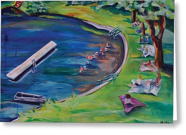 4th July Paintings Greeting Cards - Swimming Lake on July Fourth Greeting Card by Meredith Piper