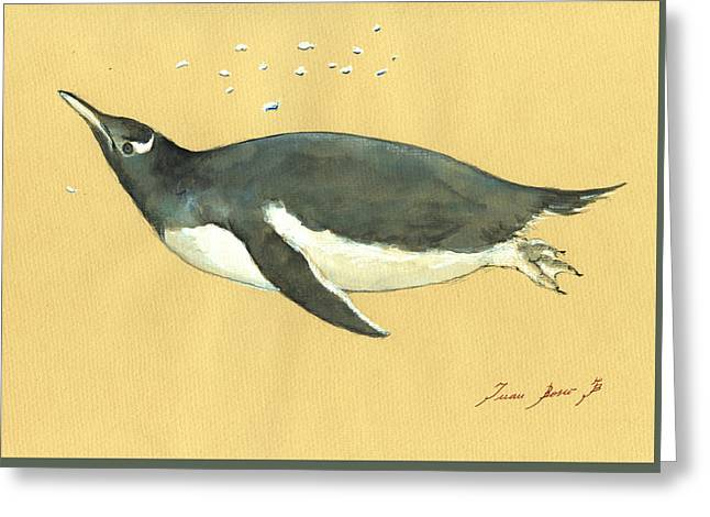 Sea Birds Greeting Cards - Swimming penguin Greeting Card by Juan  Bosco