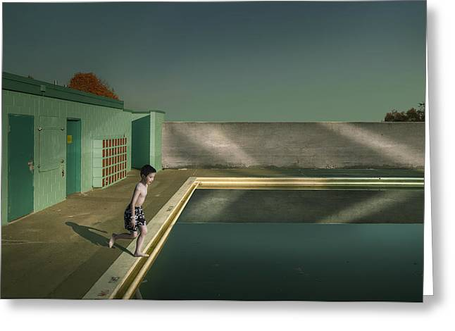 Fangs Greeting Cards - Swimming Pool Greeting Card by Fang Tong