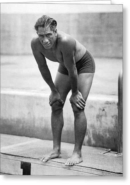 Swimming Star Duke Kahanamoku Greeting Card by Underwood Archives