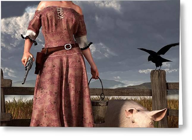 Swineherdess Greeting Card by Daniel Eskridge