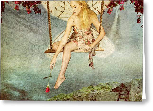 Girl Looking Down Greeting Cards - Swing Fairy Greeting Card by Juli Scalzi
