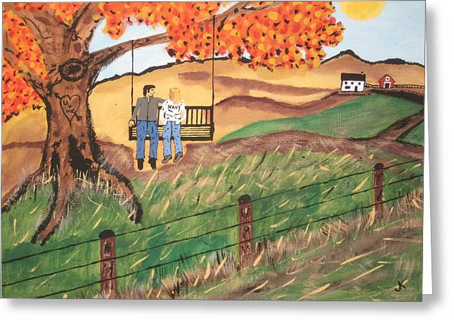Painting By Jeff Koss Greeting Cards - Swing Full Of Love. Greeting Card by Jeffrey Koss