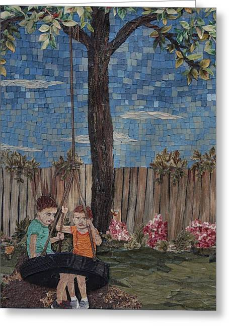 Mosaic Tapestries - Textiles Greeting Cards - Swing Set Greeting Card by Wendy Hackett