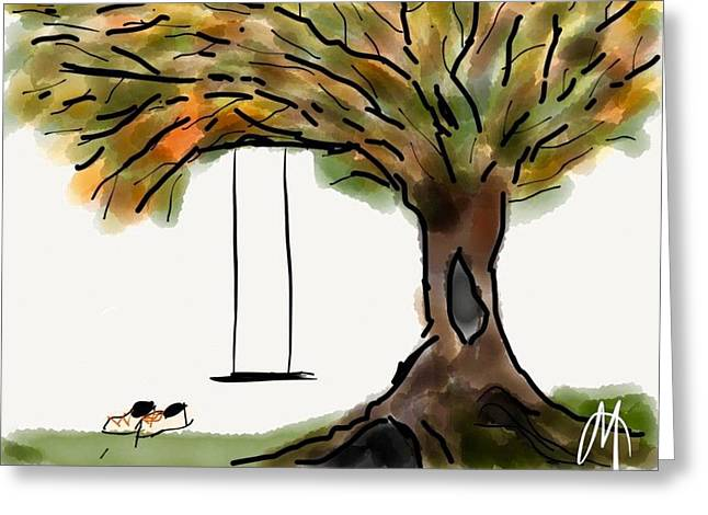 Missing Child Drawings Greeting Cards - Swing with Me Greeting Card by Mary Ann Goughler