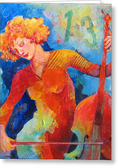 Playing Musical Instruments Greeting Cards - Swinging at Club 135 Greeting Card by Susanne Clark