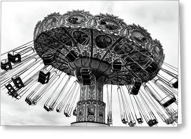 Swinging At Seaside Heights Mono Greeting Card by John Rizzuto