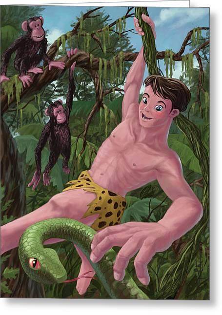 Swinging Boy Tarzan Greeting Card by Martin Davey