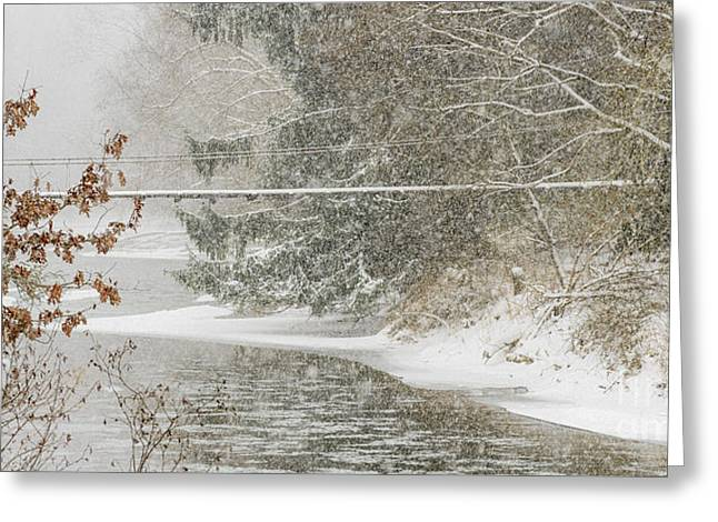 Winter Storm Greeting Cards - Swinging Bridge in Snow Storm Greeting Card by Thomas R Fletcher