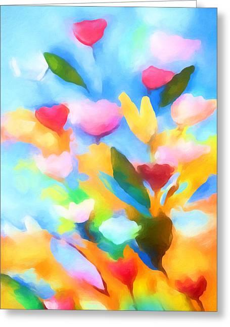 Painted Flowers Greeting Cards - Swinging Flowers Greeting Card by Lutz Baar