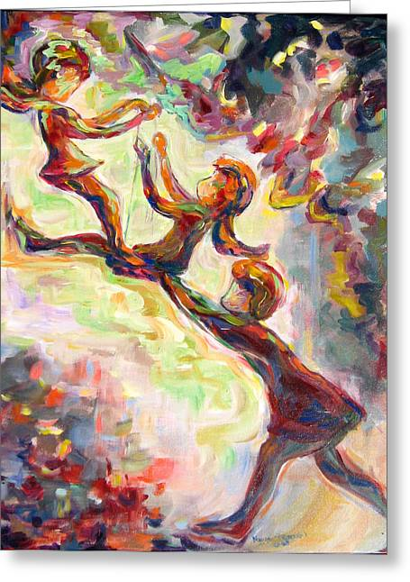 Child Swinging Paintings Greeting Cards - Swinging High Greeting Card by Naomi Gerrard