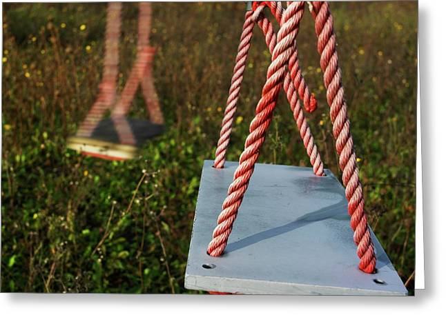 Absence Greeting Cards - Swings Greeting Card by Bernard Jaubert