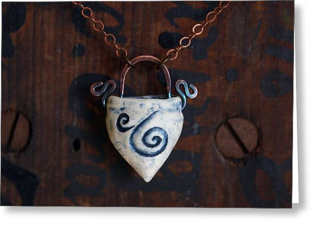 Rustic Jewelry Greeting Cards - Swirl Cache Necklace Greeting Card by Evelyn Taylor Designs