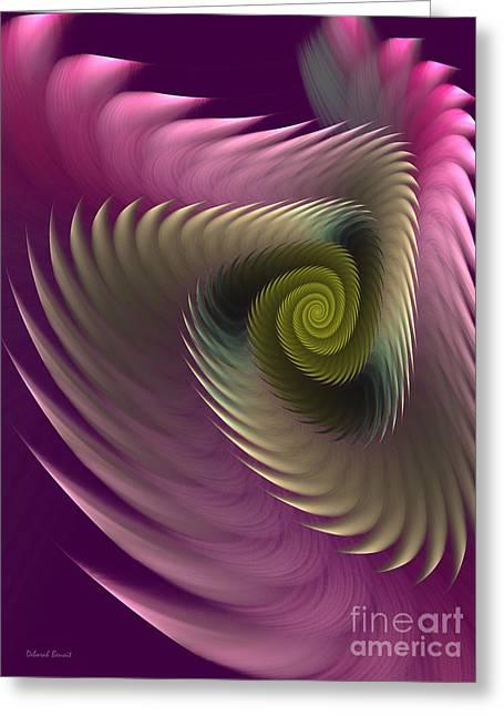 Framed Fractal Prints Greeting Cards - Swirl Of Purple Greeting Card by Deborah Benoit