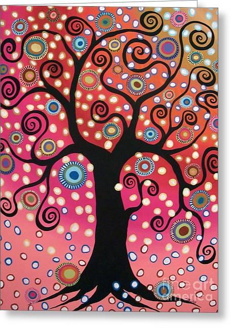 Swirl Tree In Bloom  Greeting Card by Karla Gerard