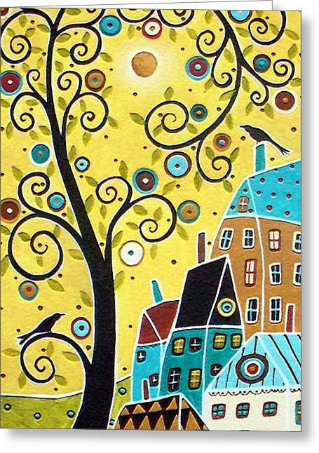 Karla G Greeting Cards - Swirl Tree Two BIrds And Houses Greeting Card by Karla Gerard