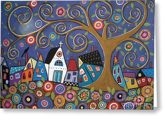 Swirl Tree Greeting Cards - Swirl Tree Village Greeting Card by Karla Gerard