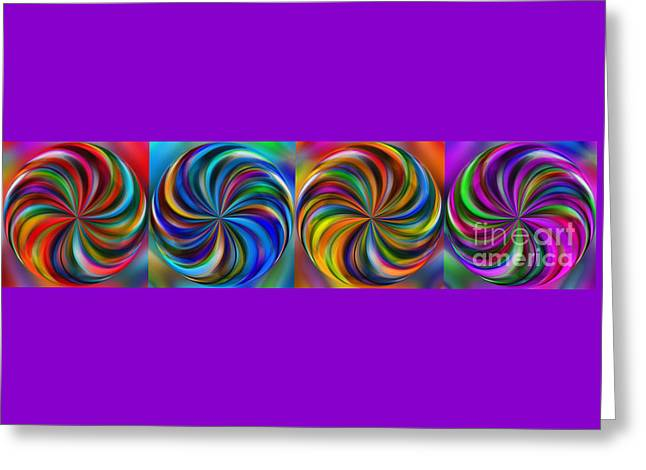 Curve Ball Greeting Cards - Swirling Colors Horizontal Collage by Kaye Menner Greeting Card by Kaye Menner