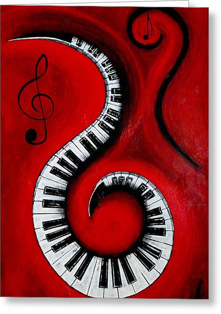 Fantasy World Greeting Cards - Swirling Piano Keys- Music In Motion Greeting Card by Wayne Cantrell