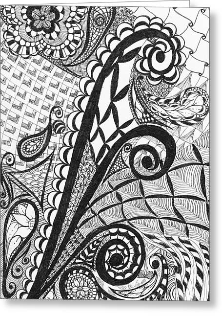 Pen And Paper Greeting Cards - Swirls and Flowers Greeting Card by Nicole Johnson
