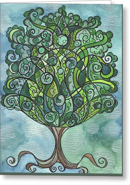 Swirly Tree Greeting Card by Michell Rosenthal