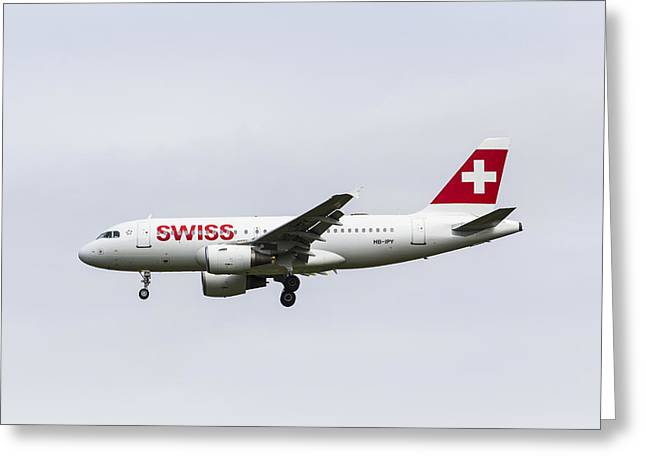 Swiss Greeting Cards - Swiss Airlines Airbus A319 Greeting Card by David Pyatt
