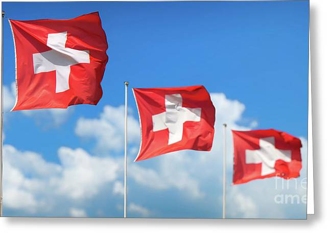 Swiss Flags - Flags Of Switzerland Greeting Card by JR Photography