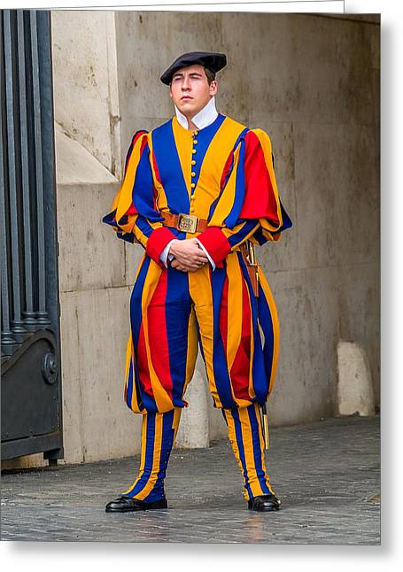 Swiss Photographs Greeting Cards - Swiss Guard St. Peters Rome Italy Greeting Card by Xavier Cardell
