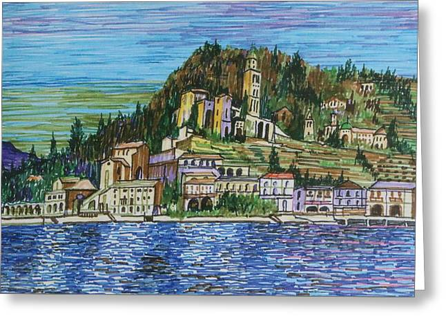 Swiss Lake Side Village Greeting Card by Ronald Thompson