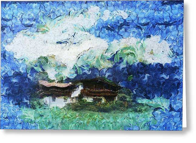 Van Gogh Style Greeting Cards - Swiss Mountain Chalet Greeting Card by Mario Carini