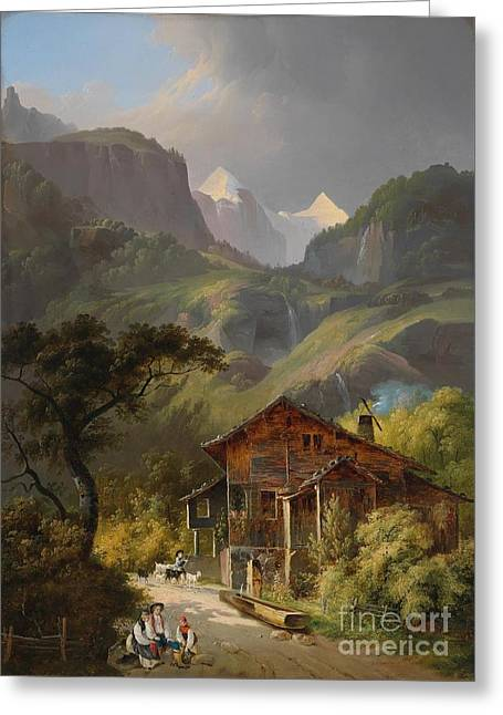 Swiss Paintings Greeting Cards - Swiss Mountain Landscape  Greeting Card by Celestial Images