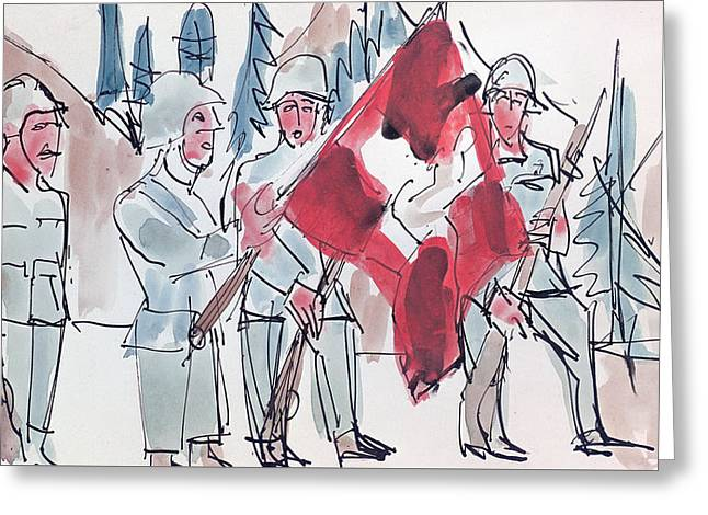 Swiss Soldiers With Flag Greeting Card by Ernst Ludwig Kirchner
